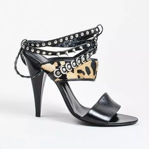 SAINT LAURENT 'FETISH' LEOPARD STUDDED SANDALS